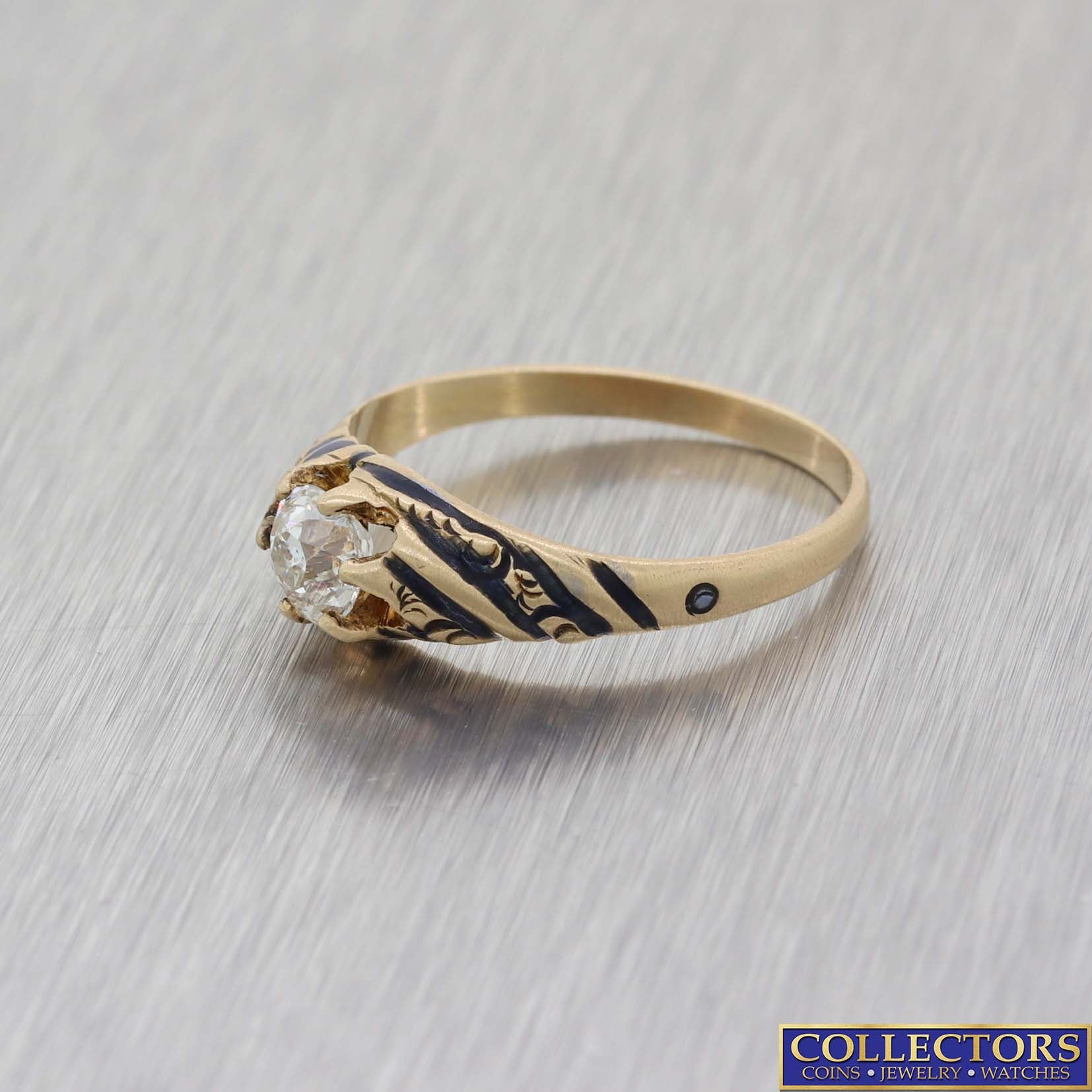 1880 Antique Victorian 14k Yellow Gold .51ct Diamond Enamel Engagement Ring EGL