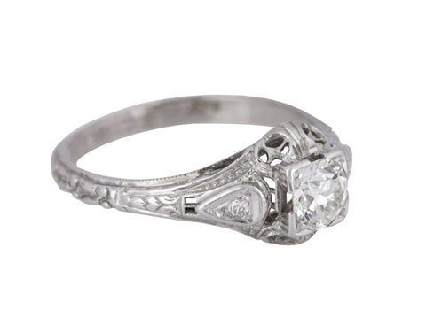 Womens Antique Victorian 18K White Gold 0.50 CT Diamond Filigree Engagement Ring