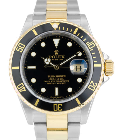 REHAUT Rolex Submariner Date M SERIAL 16613 T Two-Tone Gold Black Dive Watch