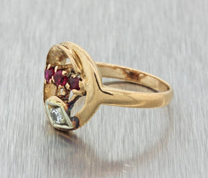 1930s Antique Art Deco 14k Solid Yellow Rose Gold .30ctw Diamond Ruby Ring