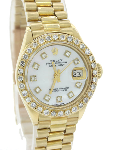 Ladies Rolex DateJust President 6917 18K Yellow Gold Diamond MOP Watch 69178