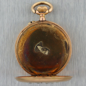 1880's Antique Victorian 14k Yellow Gold Rose Cut Diamond Swallow Pocket Watch