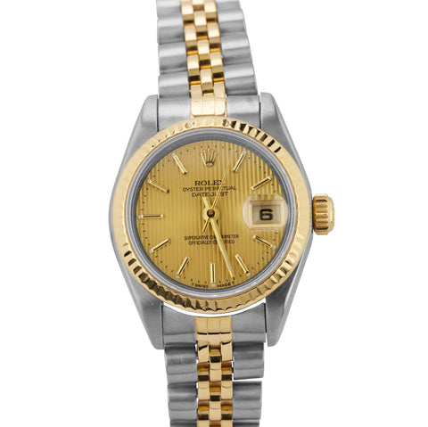 1996 Ladies Rolex DateJust 79173 18K Gold 26mm Linen Champagne Jubilee Watch