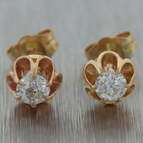 1880 Antique Victorian 14k Yellow Gold 0.40ct Old Mine Cut Diamond Stud Earrings