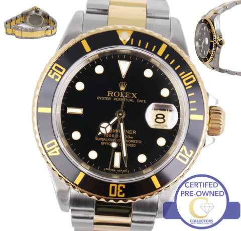 2008 Rolex Submariner 16613 T Two-Tone Stainless Black Date Dive 40mm Watch SEL
