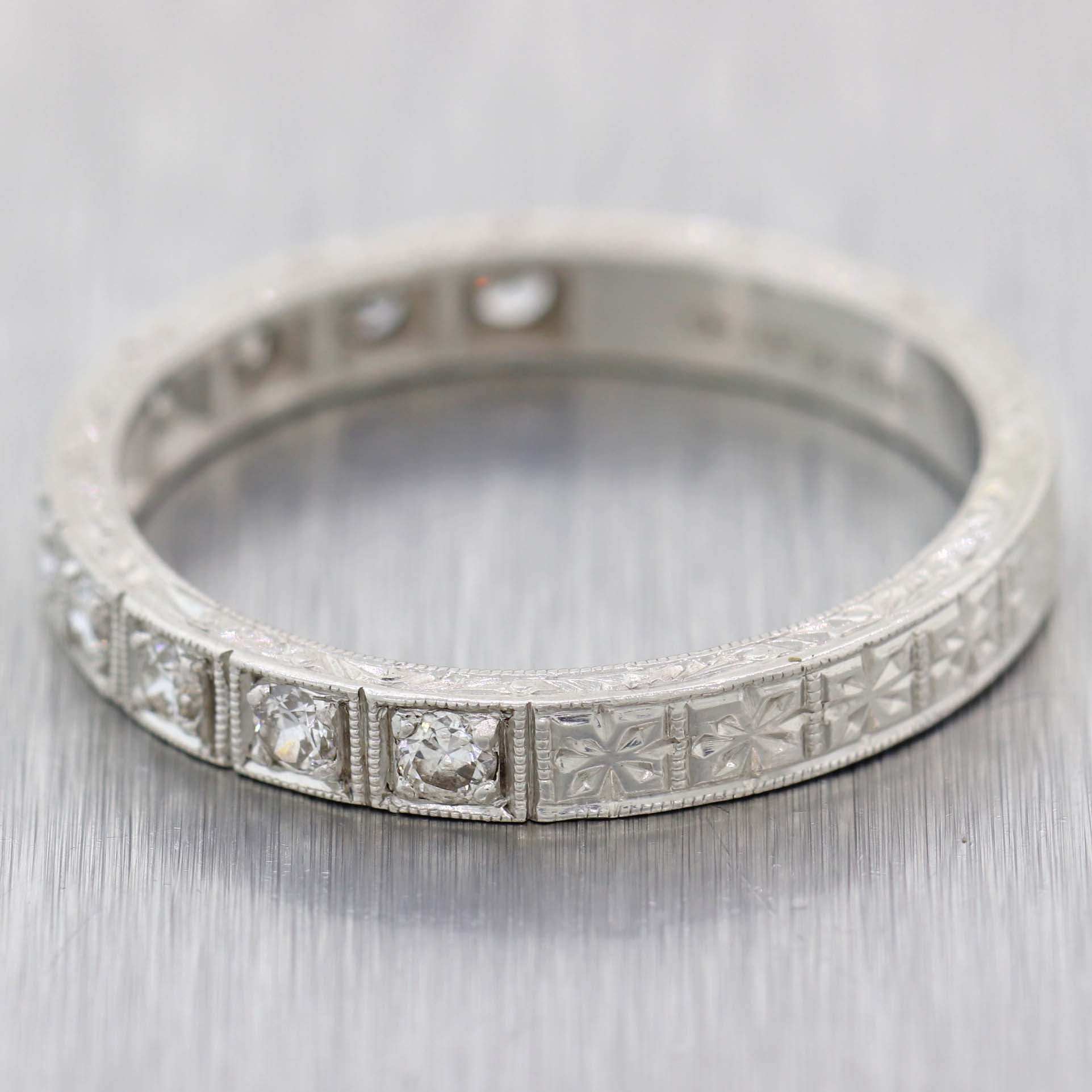 1930s Antique Art Deco Platinum Engraved .50ctw Diamond 3mm Wedding Band Ring D8