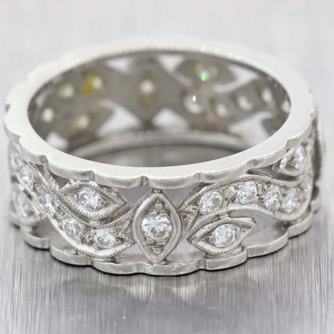 1930s Antique Art Deco Estate Platinum 1.00ctw Diamond 8mm Wide Band Ring D8