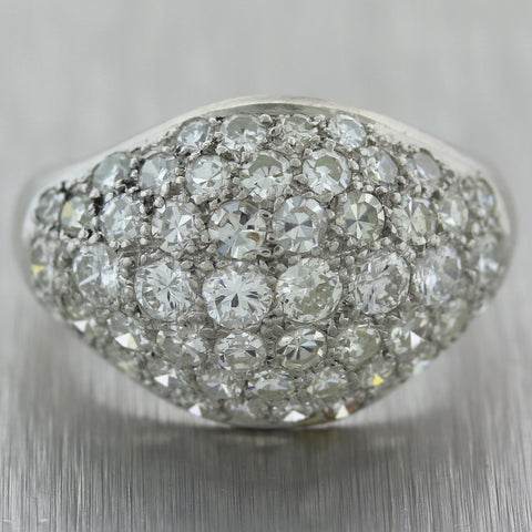 1930's Antique Art Deco Platinum 2ctw Diamond Cluster Band Ring