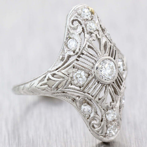 1930s Antique Art Deco Estate 14k White Gold .50ctw Diamond Cocktail Ring D8