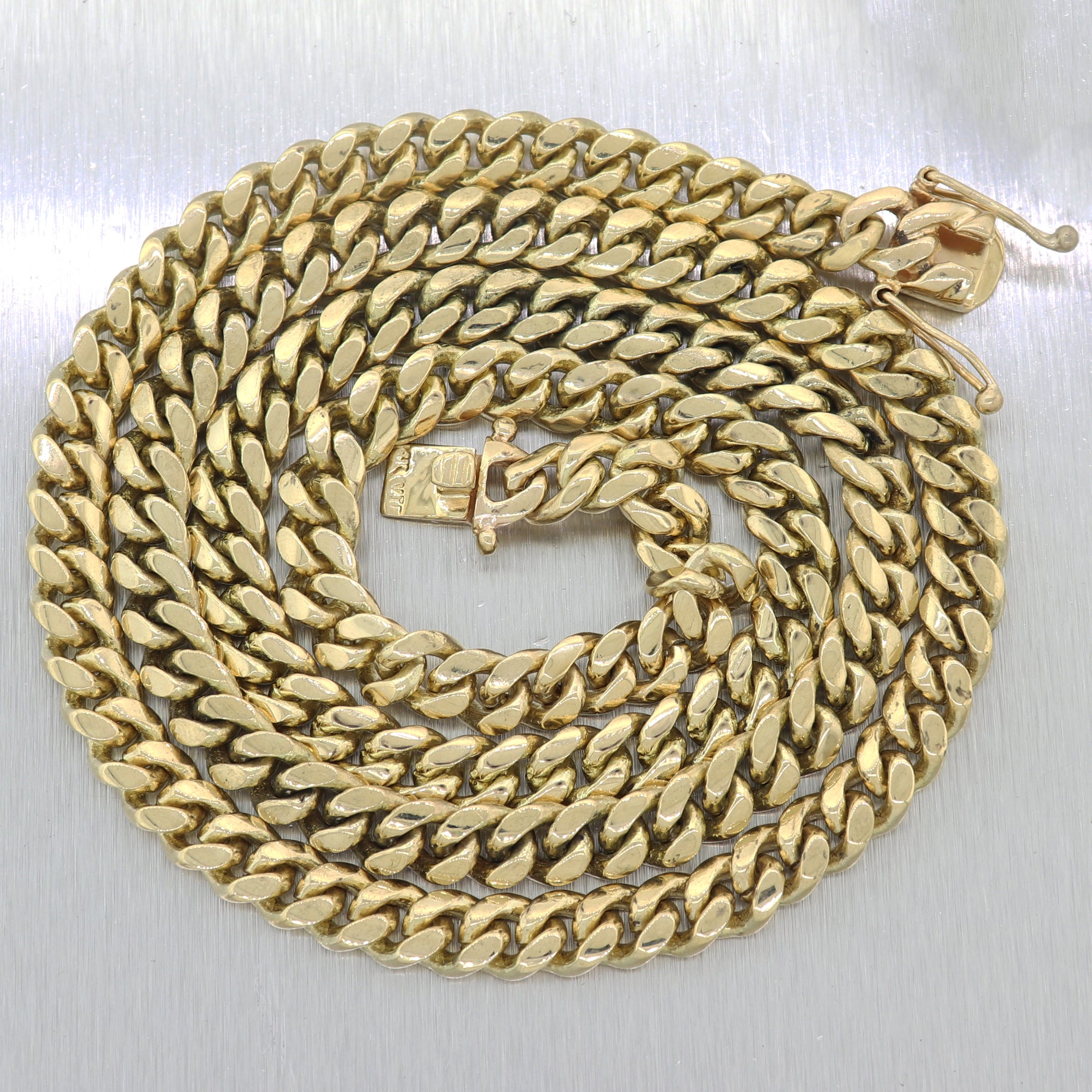 "Mens Chain 161g Heavy 14k Yellow Gold Cuban Link 30"" Long Necklace"