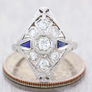 1930s Antique Art Deco 18k White Gold Filigree .50ctw Diamond Cocktail Ring D8