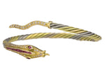 Antique 18K 750 Yellow/White Gold 1.14ctw Diamond Ruby Snake Bangle Bracelet