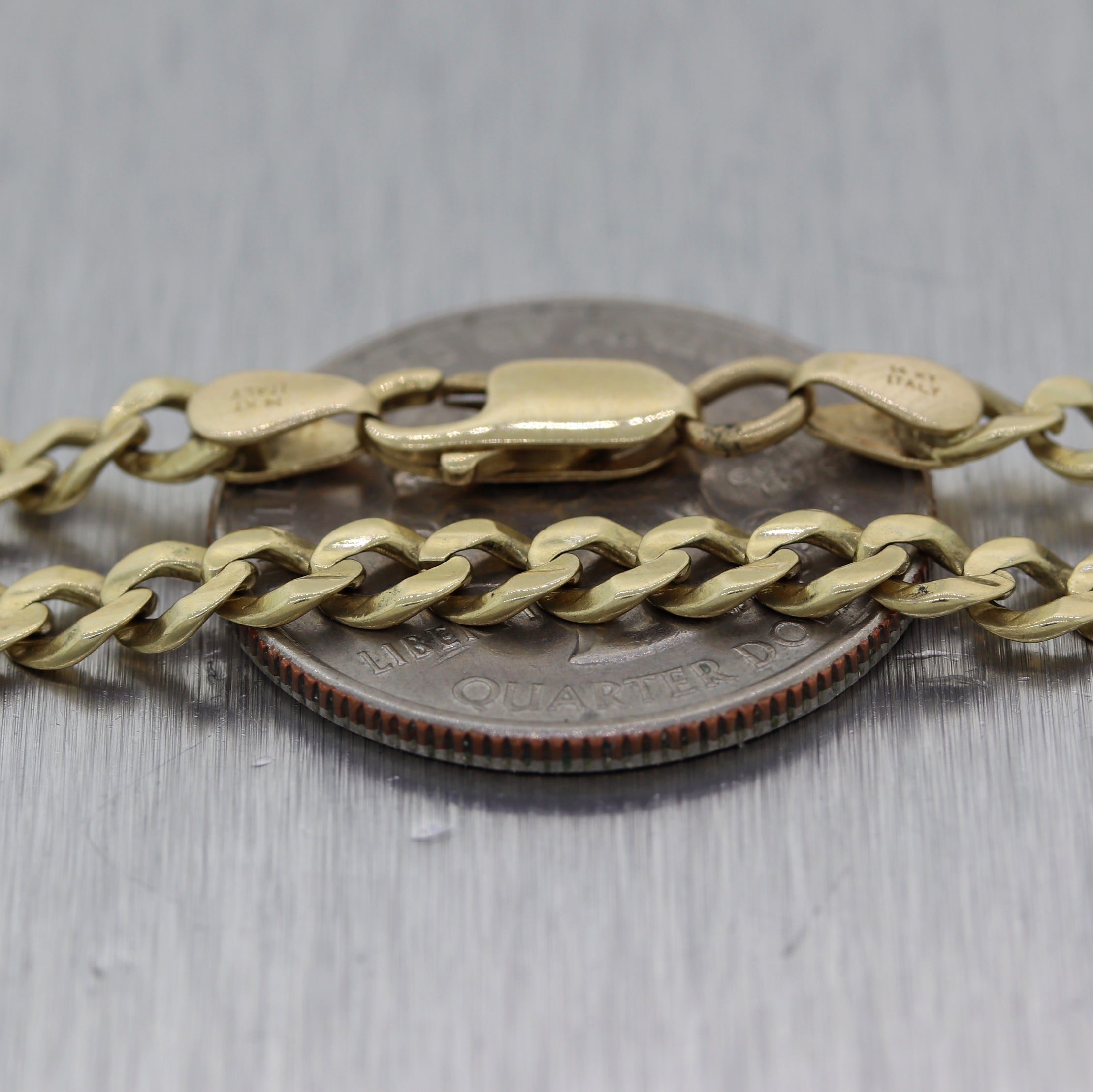 "Mens Chain 18.41g Heavy 14k Yellow Gold Cuban Curb Link 23"" Long Necklace"