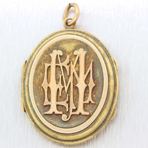 1860s Antique Victorian 14k Yellow Gold Letter Engraved Locket Necklace Pendant D8