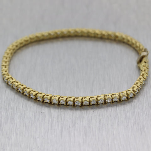 Modern 14k Yellow Gold 3.11ctw Diamond Tennis Bracelet