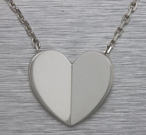 Ladies Van Cleef & Arpels 18K 750 White Gold Frivole Heart Pendant Necklace