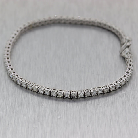 Modern 14k White Gold 3.01ctw Diamond Tennis Bracelet