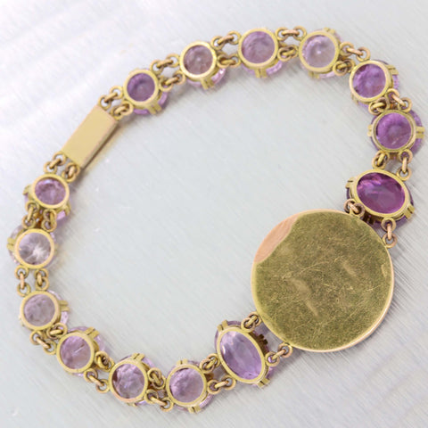 Antique Vintage 56 Yellow Gold Russian Tsar Amethyst Chain Link Bracelet D8