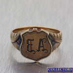 1880s Antique Victorian Estate 14k Yellow Gold EA Initial Signet Ring Y8