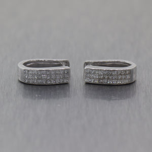 Modern 14k White Gold 0.50ctw Princess Cut Diamond Invisible Set Hoop Earrings