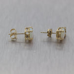 Vintage Estate 14k Yellow Gold 2.25ctw Opal & Diamond Stud Earrings