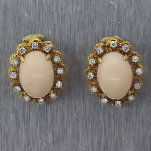 Vintage Estate 18k Yellow Gold Angel Skin Coral & 1.50ctw Diamond ClipOn Earring