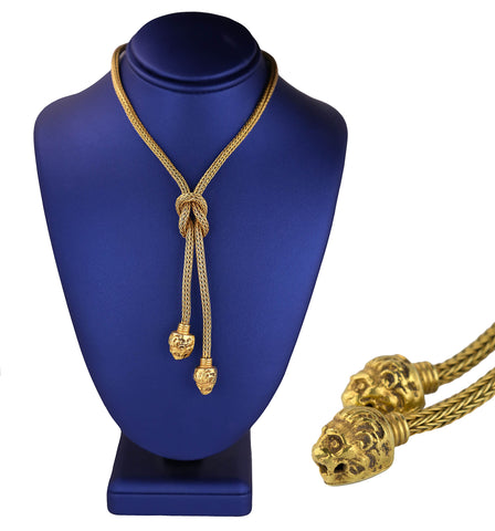 Vintage Estate Handmade 18K Yellow Gold Knot Lion Head Tassel Lariat Necklace