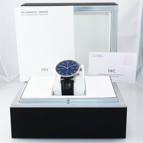 PAPERS IWC Portuguese Portugieser 150 Year Steel 41mm IW3716 Chronograph Watch