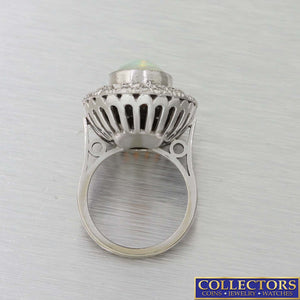 1940s Antique Art Deco 14k White Gold 16mm x 9mm Opal Diamond Cocktail Ring Y8