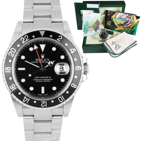 Rolex GMT-Master II UNPOLISHED Black NO HOLES F 16710 Oyster Watch BOX PAPERS