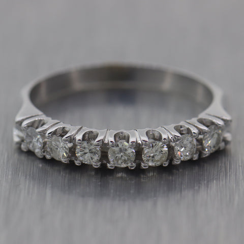 Vintage Estate 14k White Gold 0.35ctw Diamond Wedding Band Ring