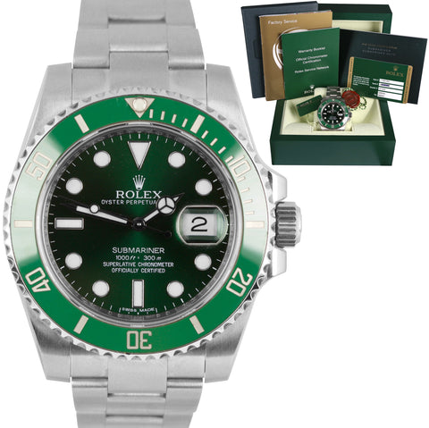 2013 Rolex Submariner Date Hulk 116610 LV Stainless Green Ceramic 40mm Watch