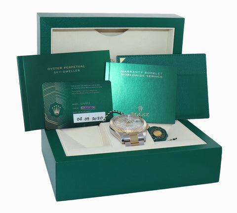 SEPT 2020 NEW Rolex Sky-Dweller 326933 White Two Tone Gold Steel 42mm Watch Box