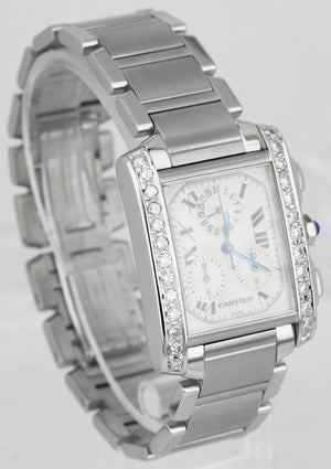 Cartier Tank Francaise Chronoflex 2303 Chronograph Diamond Quartz Watch W51001Q3