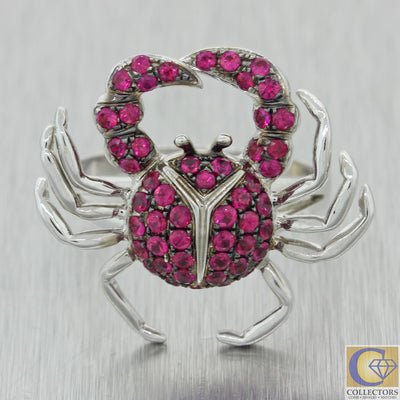 Effy BH 14k White Gold Cancer Crab Zodiac Pink Sapphire Ring
