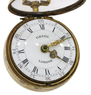 Antique Victorian Sterling Gregg London Repousse Cased Verge Fuse Pocket Watch