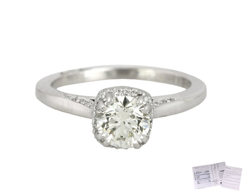 Tacori Dantela 18K White Gold 0.79CT Round Brilliant Diamond Engagement Ring GIA