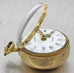 Antique Victorian c1775 Sterling Gregg London Repousse Cased Verge Fuse Pocket Watch