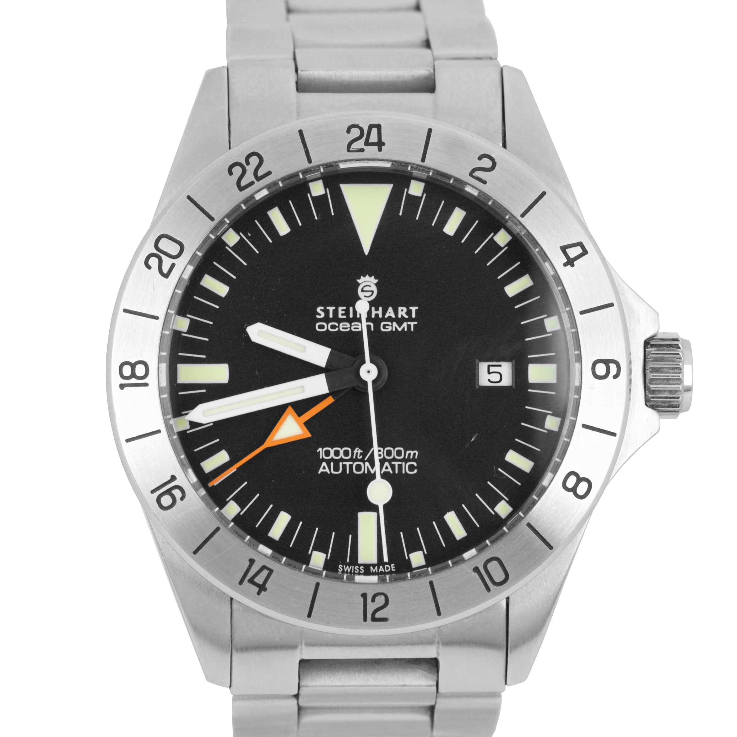Steinhart Ocean Vintage GMT Explorer Stainless Steel Automatic 42mm Watch 2893-2