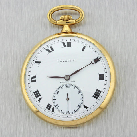 Tiffany & Co Agassie Watch Co. 18k Yellow Gold 45mm Pocket Watch 58.9g