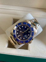 2019 Rolex Submariner Date 116618 Ceramic 18K Yellow Gold Blue 40mm Dive Watch