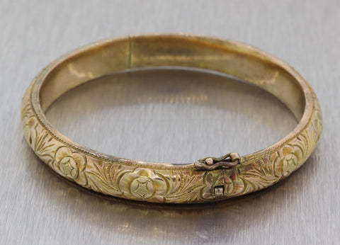1880s Antique Victorian 14k Yellow Gold 9mm Wide Engraved Bangle Bracelet E8