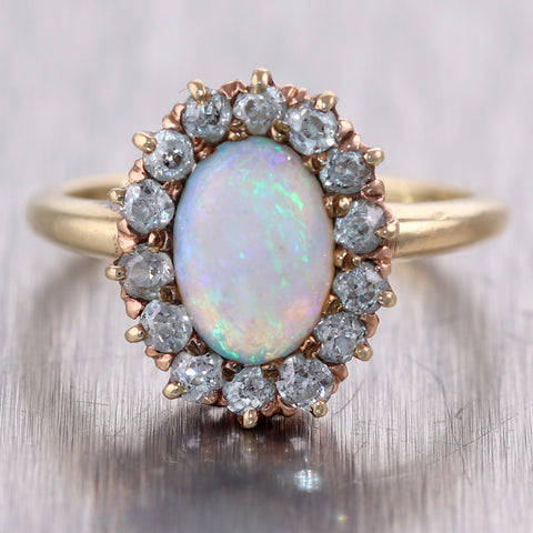 1890's Antique Victorian 14k Yellow Gold Opal & 0.50ctw Diamond Ring