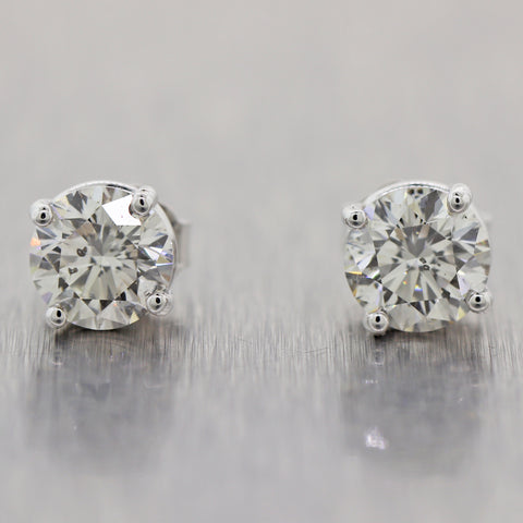 Modern 14k White Gold 1.80ctw Diamond Stud Earrings
