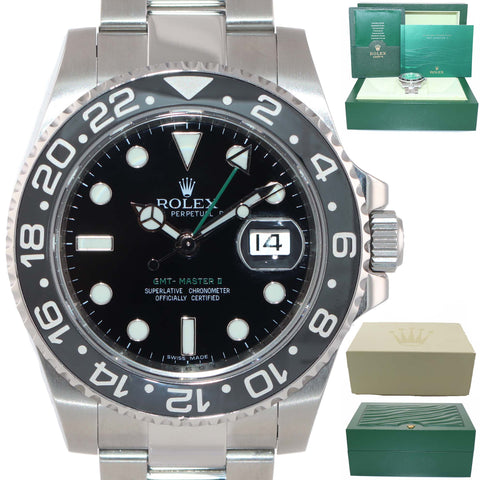 MINT Rolex GMT Master II 116710 LN Steel Ceramic Black Ceramic Watch w Box