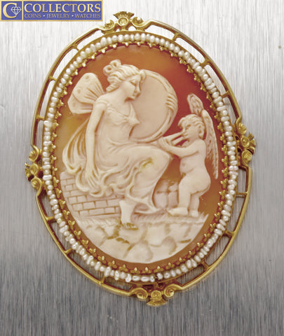 Vintage Antique Cupid Angel Seed Pearl Yellow Gold Cameo Pendant Pin Brooch