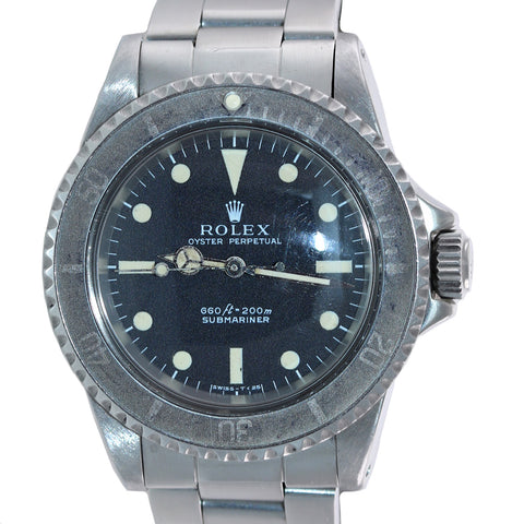 1970s Rolex Submariner 5513 Black Matte Dial 40mm GHOST BEZEL Watch