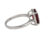 Ladies Stunning 14K White Gold 10x8mm Garnet Emerald Cut Diamond Cocktail Ring