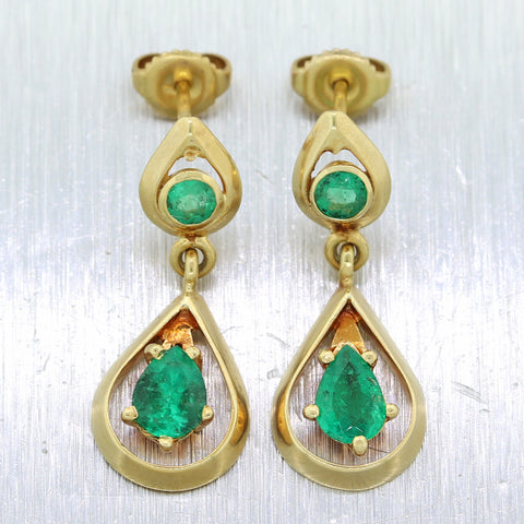 Vintage Estate 18k Yellow Gold 1.50ctw Colombian Emerald Dangle Earrings