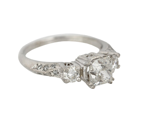 Women's Vintage Platinum 1.24 CT G-H I1 Princess Cut Diamond Engagement Ring EGL